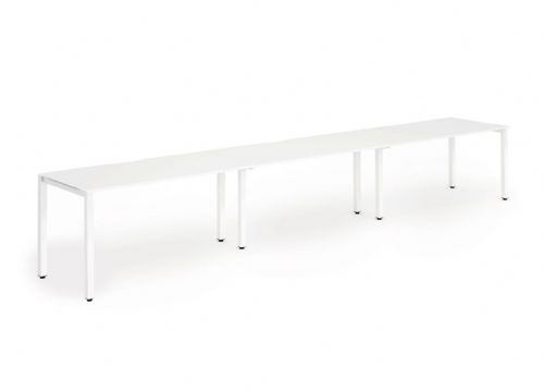 Three Person Bench Desk|Various Frames Available. Beech, Light Walnut, White & Oak Top